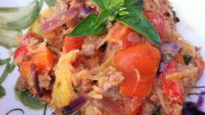 Italian Spaghetti Squash and Meat Sauce