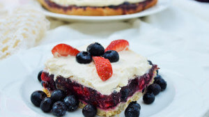 Raspberry, White, and Blueberry Pie Bars