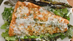 Grilled Salmon with Lemon Yogurt Dill Sauce