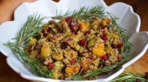 Roasted Brussel Sprout, Butternut, and Quinoa Salad, with homemade dried cranberries